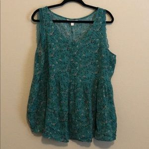 Adorable Floraly Green Blouse- LC
